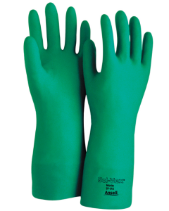 ANSELL AlphaTec SOL-VEX - 37-175  11 - 15 Mil Gloves, Green Nitrile. Size 11. Package of 12 Pr.