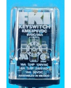 FKI - KMK3P6VDC - Relay, power. Input: DC. 3PDT 10A 6VDC.