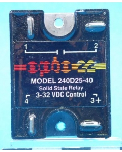 OPTO 22 - 240D25-40 - Relay, SS. 3-32VDC or TTL. Used.