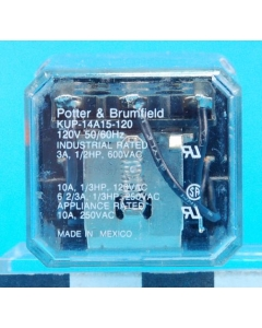TYCO/P&B - KUP14A15-120 - Relay, AC. Coil: 120VAC 1700 Ohm.
