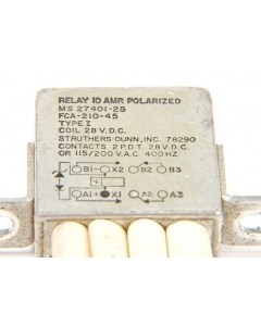 STRUTHERS & DUNN - MS27401-25 FCA-210-45 - Relay, control, DC. Used.