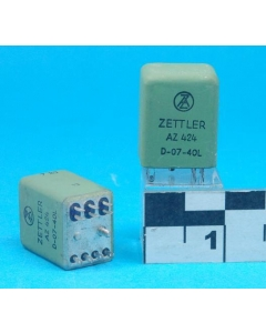 American Zettler - AZ424-D-07-40L - Relay, DC. DPDT 5Amp 24VDC. Hermetically Sealed