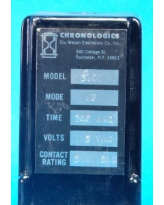 CHRONOLOGICS MESON ELX. - 5108 - Relay, TDR (240 Seconds). Input: AC. DPDT 5A 115V.