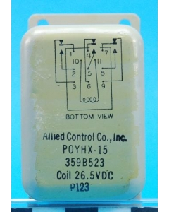 ALLIED CONTROLS - POYHX-15 - 26VDC 3PDT Hermetically Sealed