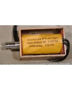 GUARDIAN - A420-060761-00 - Solenoid, DC. Coil: 170VDC 0.109A 1560 Ohms.