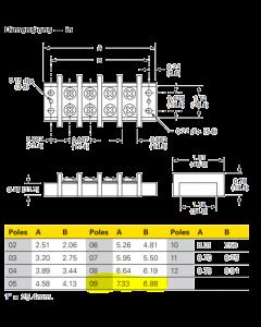 KULKA MARATHON - 603 GP 09 - 0409081- Connector, Terminal block. Double Row, 9 Poles, 9 x 2.
