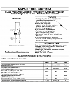 General Instruments - 5KP30 - Transient Protection, Diode, Single Unidirectional, TVP. 37V 5KW.