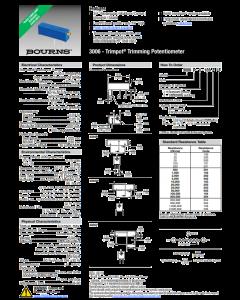 Bourns TRIMPOT - 3006W-1-101 - Resistor, trimming. 100 Ohm 3/4W.